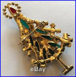 Vintage Juliana Verified D & E Green Rhinestone Figural Christmas Tree Brooch
