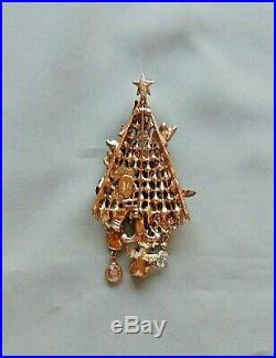 Vintage KIRKS FOLLY Xmas Tree Cat Ornament Pin