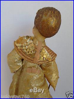 Vintage Koestel West Germany 12 Wax Gold Angel Christmas Tree Topper
