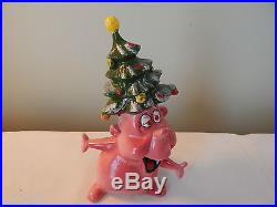 Vintage Kreiss Psycho Ceramics Christmas Tree Rhinestone Pink Guy Figurine RARE