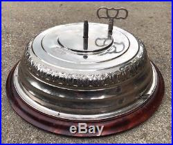 Vintage LADOR SWISS Chrome & Wood Musical Christmas Tree Stand Bass Antique