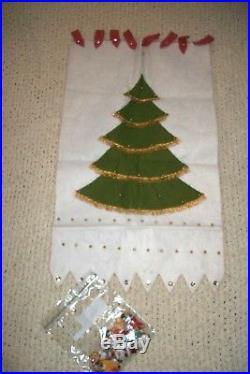Vintage LEEWARDS Felt CHRISTMAS ADVENT CALENDAR 70s TREE Sequin Ornaments