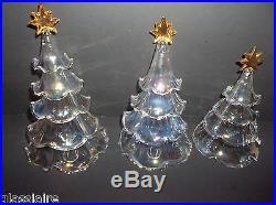 Vintage LENOX Art Glass CHRISTMAS TREE Set Of 3 IRIDESCENT 7.5 7 5.75