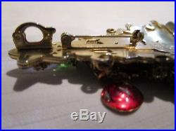 Vintage LUNCH AT THE RITZ Large Gold Tone Christmas Tree Pin Brooch Pendant