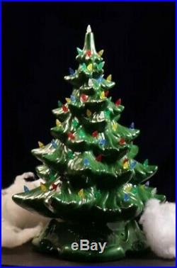 Vintage Large 16 Porcelain Light Up Christmas Tree Atlantic Mold with base