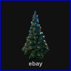 Vintage Large 19 Holland Mold Lighted Ceramic Christmas Tree with Base