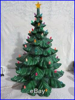 Vintage Large 24 Atlantic Mold Ceramic Christmas Tree with Base & Music Box AS IS