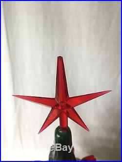 Vintage Large 24 Ceramic Christmas Tree With Lighted Base All Red Bulbs