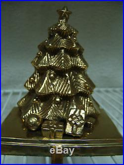 Vintage Large 3 D Brass Christmas Tree Stocking Holder