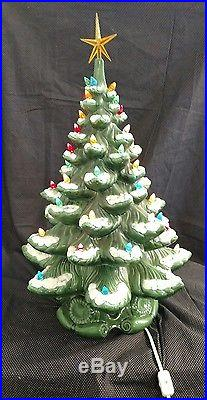 Vintage Large Ceramic Christmas Tree Light 22 High Snow Capped Marked MM 84