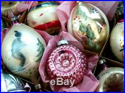 Vintage Large Poland Fancy Shape Indent Finial Glass Christmas Tree Ornaments