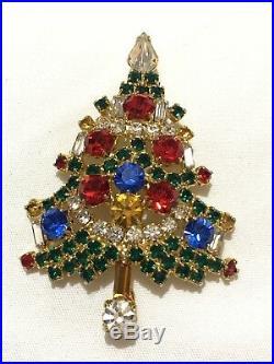 Vintage Large Rhinestones Christmas Tree Signed OTC Pin Brooch