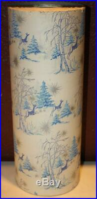 Vintage Large Roll, Christmas Paper, Blue And Silver Deer/Trees 10 Lbs. 175