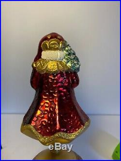 Vintage Lauscha Glass Santa Christmas Tree Topper Made In Germany 12 WithBox