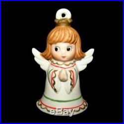 Vintage Lefton ANGEL GIRL Bell Figurines or ornaments with Christmas Tree