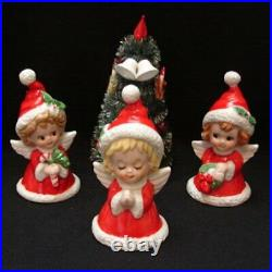 Vintage Lefton Angel Girl Bell Figurines w Christmas Tree