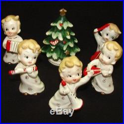 Vintage Lefton Christmas Tree & Boy Musical Instruments & Christmas Tree