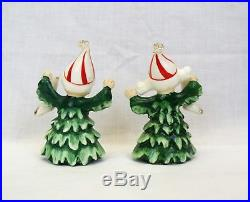 Vintage Lefton Christmas Tree Figurines and candle holders kids as trees rare