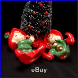 Vintage Lefton Elf Pixie Figurines holding bird and bell with Christmas Tree
