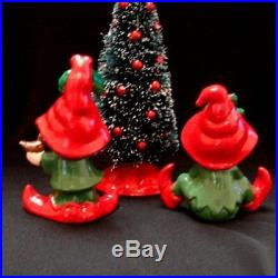 Vintage Lefton Elf Pixie Figurines w bird & bell Bottle Brush Christmas Tree