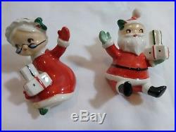 Vintage Lefton Santa Mrs Claus Ceramic Christmas Tree Clip-on Ornaments Japan