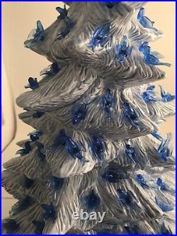 Vintage Light Blue Ceramic Christmas Tree 18 Lighted Blue Dove Birds Stunning