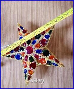Vintage Light Up Jeweled Star Christmas Tree Topper