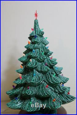 Vintage Lighted 2 Piece Nowell Ceramic Christmas Tree 17 High