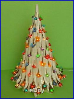 Vintage Lighted Ceramic Christmas 20 Tree Atlantic Mold Doves Butterflies MOP