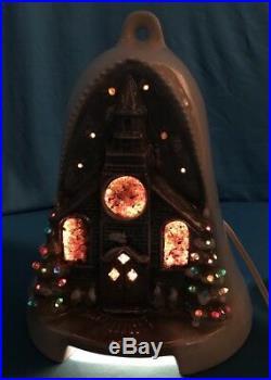 Vintage Lighted Ceramic Christmas Snowy Village Church W Tree Lustreware Bell