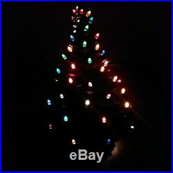Vintage Lighted Ceramic Christmas Tree 23 High With Base