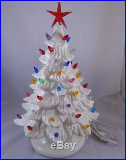 Vintage Lighted Ceramic Christmas Tree White 14 Table Decoration
