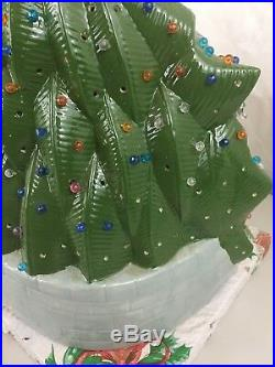Vintage Lighted Ceramic Christmas Tree With Ornaments Carolers 15 Silent Night