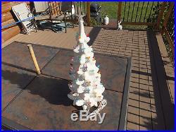 Vintage Lighted White Ceramic Christmas Tree Multi Colored Bulbs 22 Tall