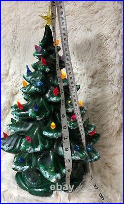 Vintage Lit Ceramic Christmas Tree Snow Lights Birds Music Box Base 18 tall