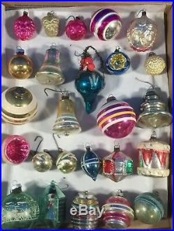 Vintage Lot 25 Glass Christmas Tree Ornaments Indents Poland Germany Space Age