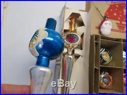 Vintage Lot Christmas Tree Ornaments Santa Bulb + Topper