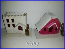 Vintage Lot of 12 Cardboard Putz Christmas Houses Japan Mica Bottle Brush Trees