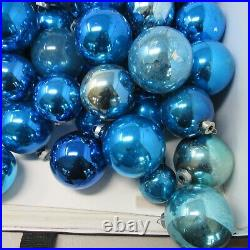 Vintage Lot of 135 Shiny Brite Christmas Tree Ornaments BLUE all Sizes USA Glass