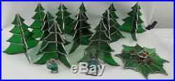 Vintage Lot of 14 Stained Glass Ornaments Angels Christmas Tree Candle Holder