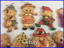 Vintage Lot of 19 SALT Bread Dough Christmas Tree Ornaments Handmade Detailed
