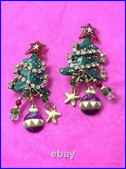 Vintage Lunch At The Ritz Christmas Tree Enamel Rhinestone Clip Earrings