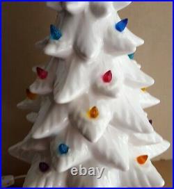 Vintage MCM White Ceramic Christmas Tree & Base Modern Mid Century Flocked
