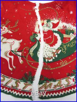 Vintage MERRY CHRISTMAS Tree Skirt Reindeer Santa Sleigh 1950s Felt 32