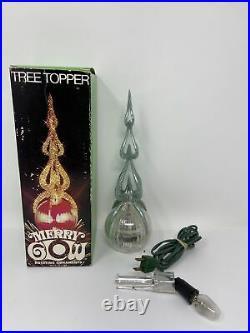 Vintage MERRY GLOW ROUND Light Up Sputnik Rotating Hard Plastic Tree Topper USA
