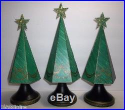 Vintage METAL Florentine Christmas Tree Set Of 3 GREEN GOLD 12 13.5 12