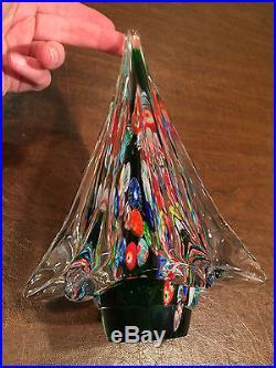 Vintage MURANO ART-GLASS Multi-Color Millefiori 8.5 CHRISTMAS TREE FIGURINE