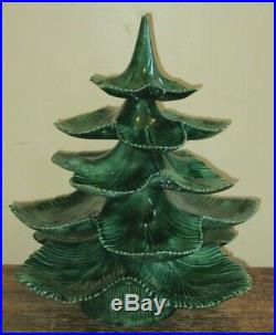 Vintage Mallory Jamar Ceramic Mold Stacking Christmas Tree with Base Green