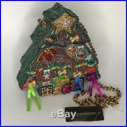 Vintage Mary Frances Christmas Tree Hard Sided Beaded Purse bag New old Stock