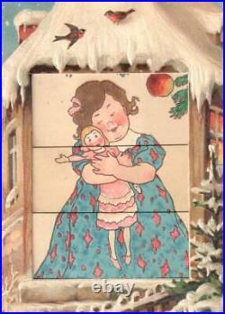 Vintage Mechanical Shutter Christmas Postcard Santa Claus Tree Toys/girl Doll